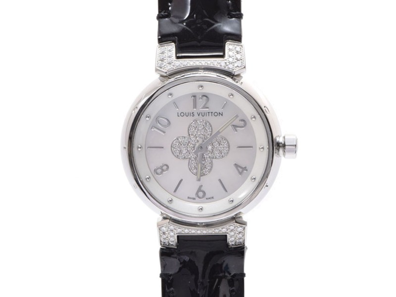 Louis Vuitton Tambour Q121P Stainless Steel & Leather with Diamond Quartz 28mm Womens Watch