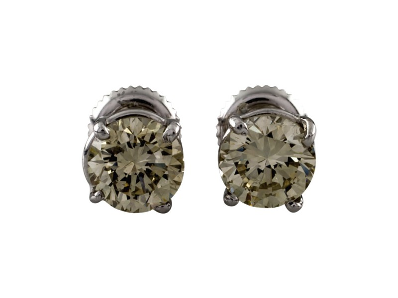 14K White Gold with 2.03ct Champagne Diamond Stud Screwback Earrings