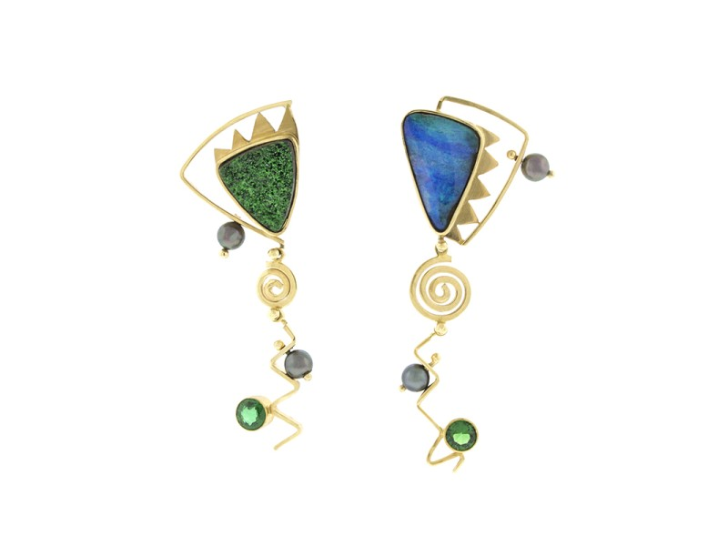 18K Yellow Gold Multi-Gemstone Dangle Earrings
