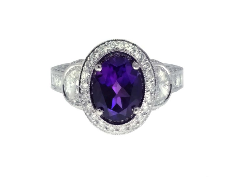 Jack Kelege Platinum Amethyst 1.05ctw Diamond Ring Size 6