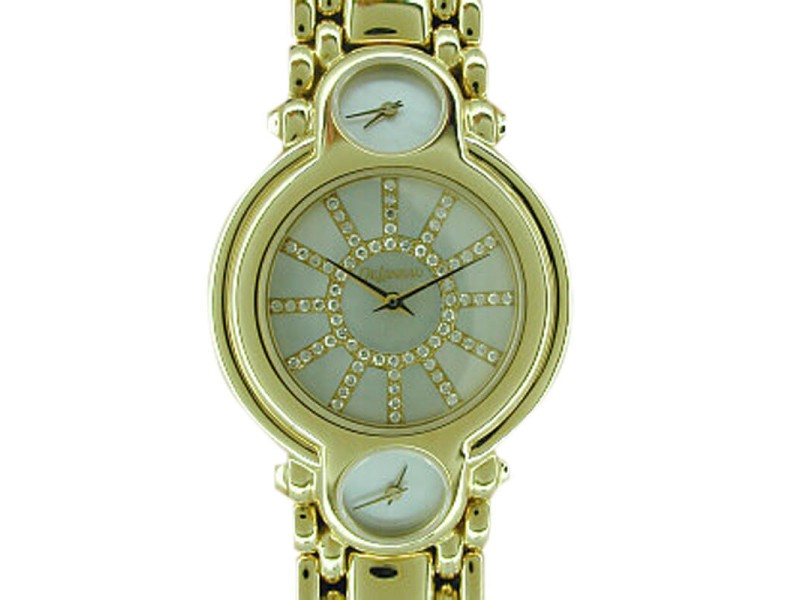 "DeLaneau ""Traveler's"" 18K Yellow Gold Mens Watch"