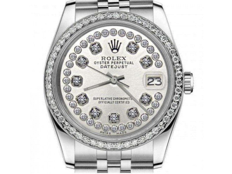 Difference to pay for Rolex 31mm Datejust With custom Diamond bezel Silver String Diamond Accent Dial Deployment buckle