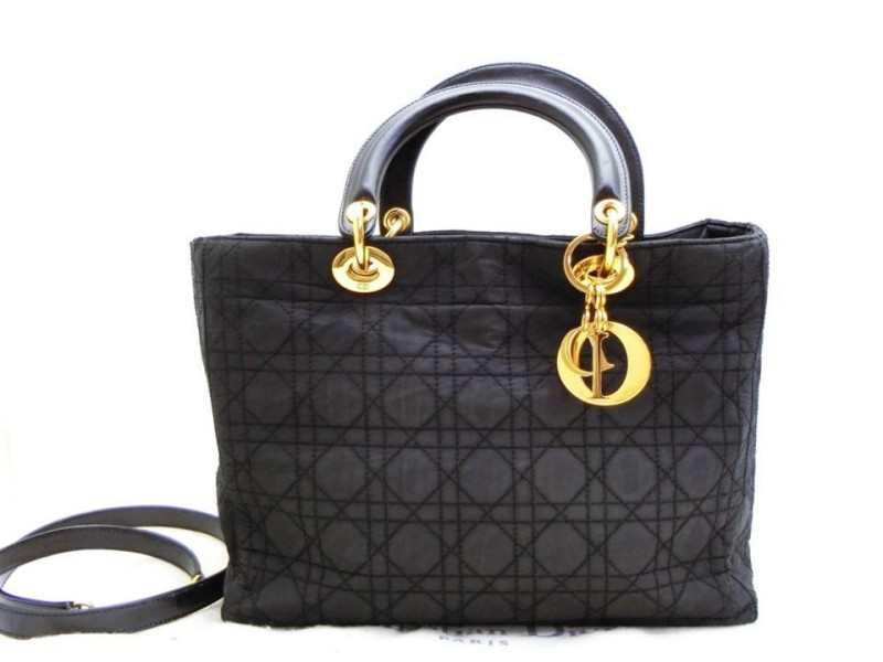 Dior 2way Cannage Quilted Lady Tote 233784 Black Nylon Shoulder Bag