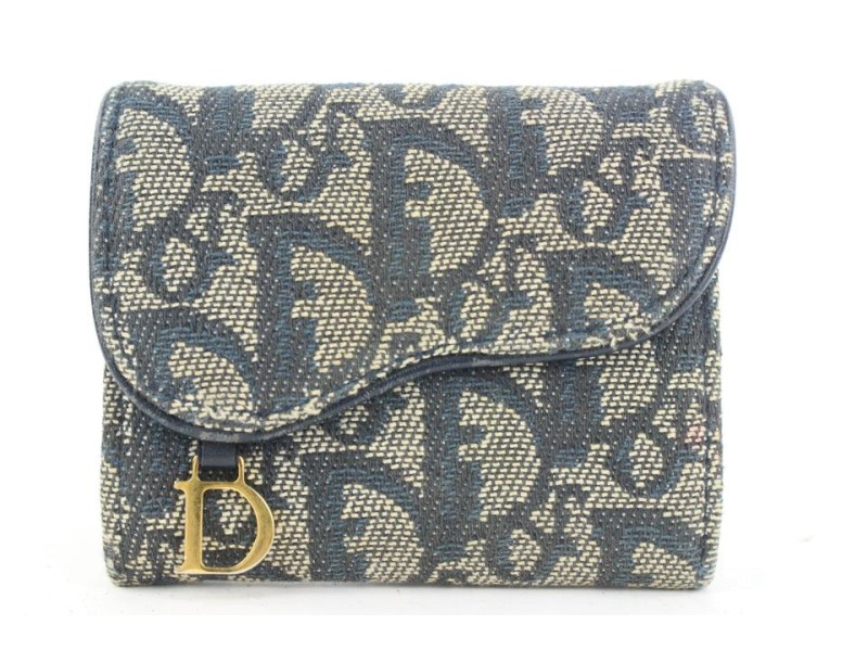 Dior Blue Monogram Trotter Saddle Compact Wallet 11dior119