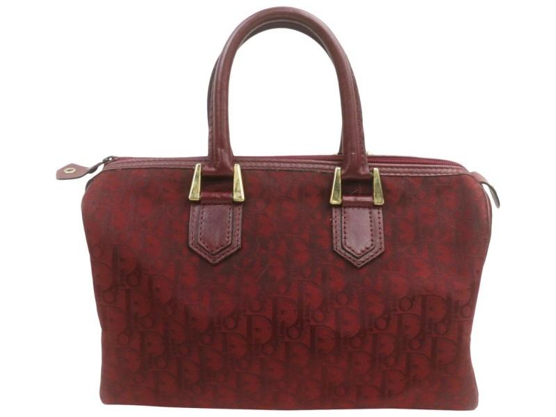 Dior Bordeaux Monogram Trotter Boston Bag 863155
