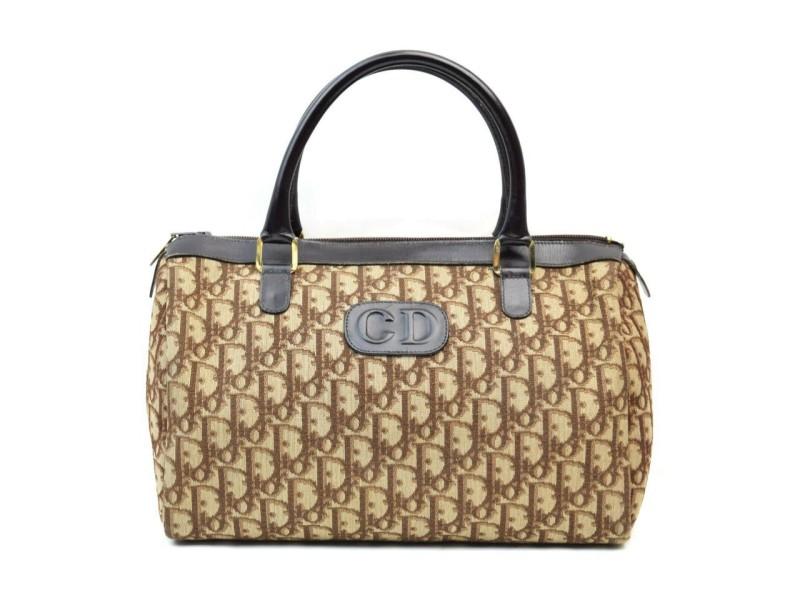 Dior Rare Brown Monogram Trotter Boston Bag 863175