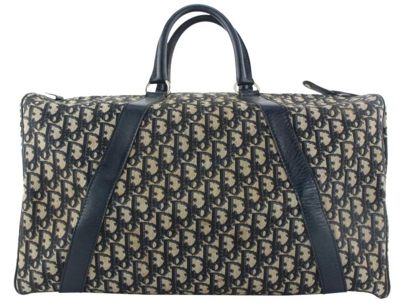 Dior Large Navy Monogram Trotter Boston Duffle Bag 80da427