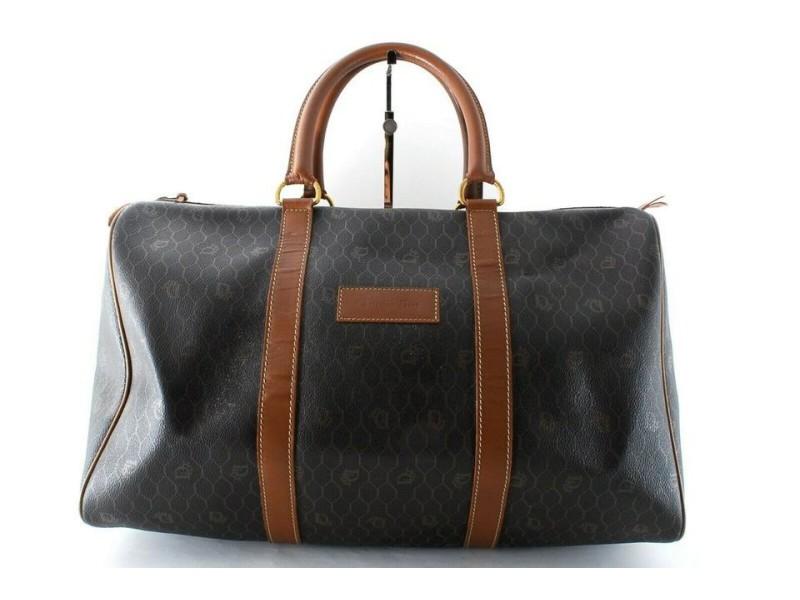 Christian Dior Large Trotter Boston Duffle Black Oblique Honey Comb 858419