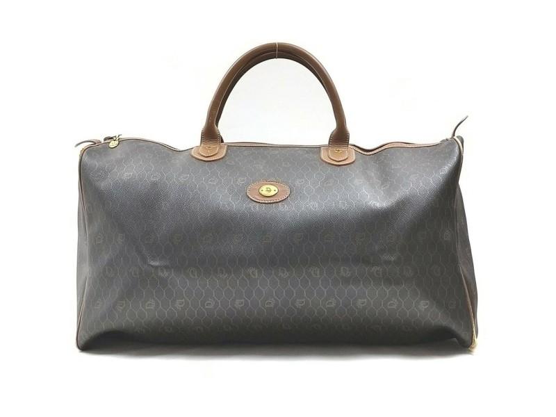 Christian Dior Black Monogram Honeycomb Trotter Boston Duffle Bag 863201