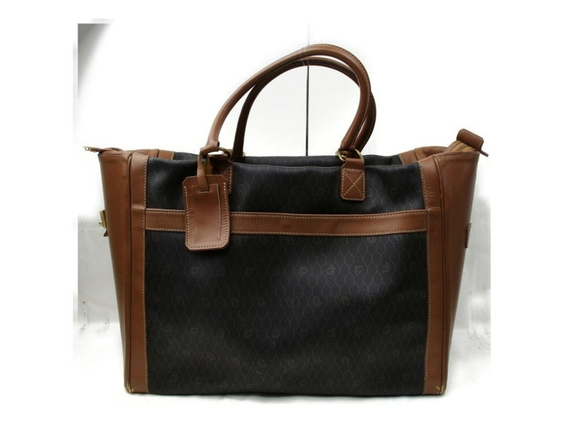Dior Duffle XL 872262 Black Signature Oblique Monogram Trotter Brown Coated Canvas Weekend/Travel Bag
