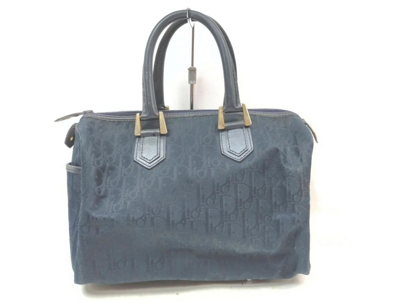 Christian Dior Navy Monogram Trotter Boston Bag 863069