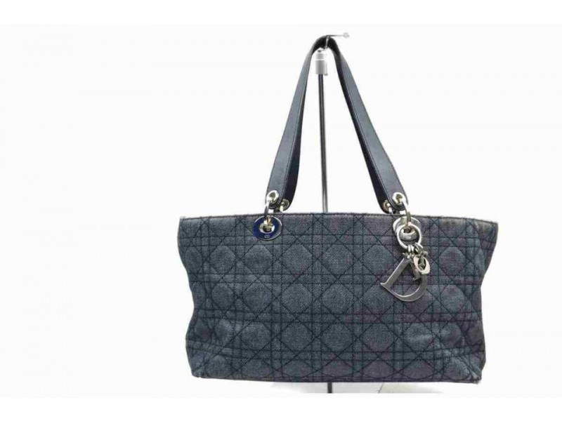 Dior Quilted Cannage Denim Lady Dior Tote Bag  858373