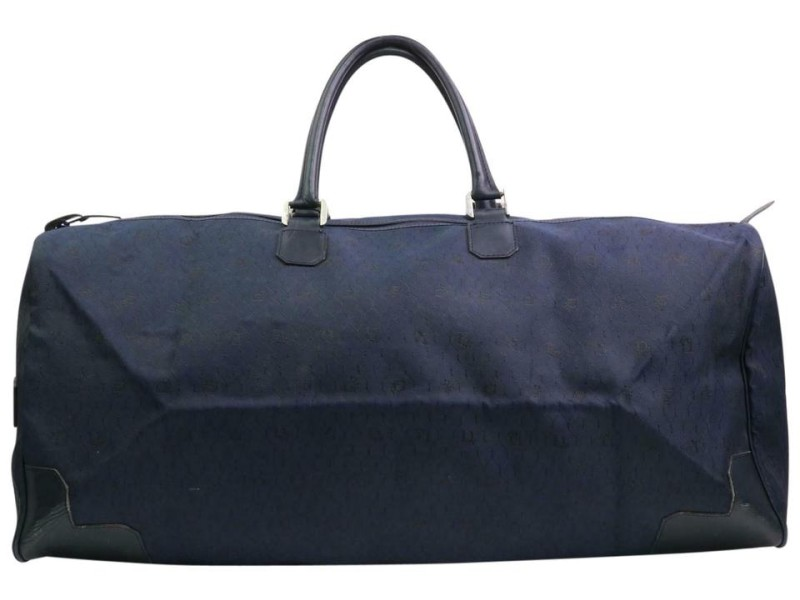 Dior Large Navy Monogram Oblique Signature Trotter Boston Duffel 870606 Black Canvas Weekend/Travel Bag