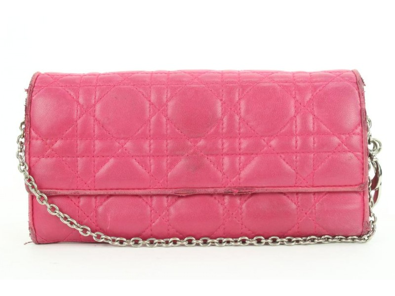 Dior Pink Quilted Cannage Leather Lady Dior Wallet on Chain 1dior112