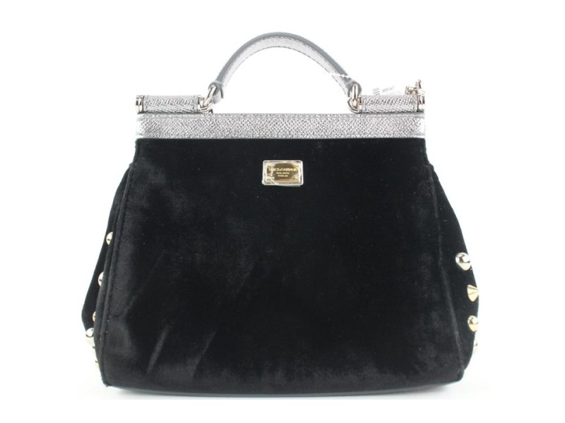 Dolce & Gabbana Black Velvet Crystal Studded Mini Sicily Chain Crossbody Bag 672dol318