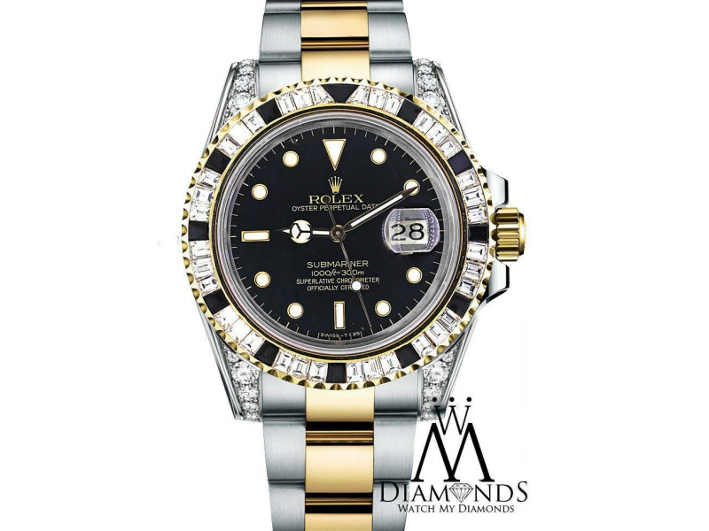 Rolex Submariner Two Tone Watch With Custom Diamond Bezel and Lugs 16613