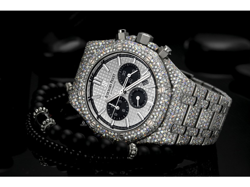 Audemars Piguet Royal Oak Chronograph 41mm 26331ST.OO.1220ST.02 Stainless Steel Fully Iced Out Watch