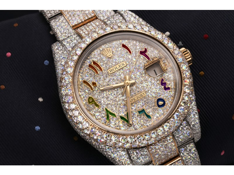 Rolex Datejust 41 126303 Custom Rainbow Arabic Script Dial Stainless Steel and 18k Yellow Gold Fully Iced Out Watch