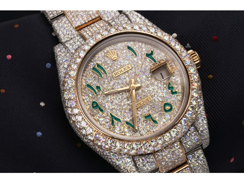 Rolex Datejust 41 126303 Custom Turquoise Arabic Script Dial Stainless Steel and 18k Yellow Gold Fully Iced Out Watch