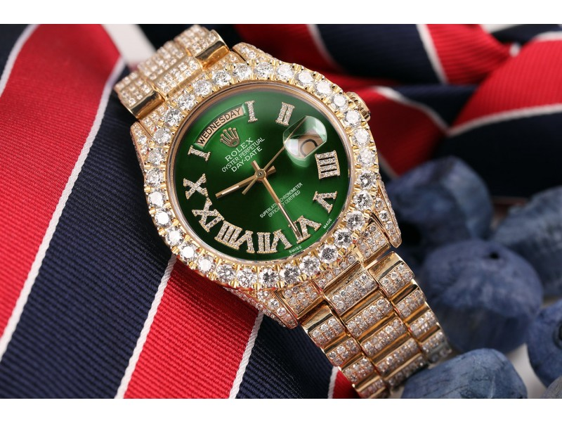 Rolex 36mm Presidential 18kt Gold Green Roman Diamond Numeral Dial Fully Iced Out Watch 18038