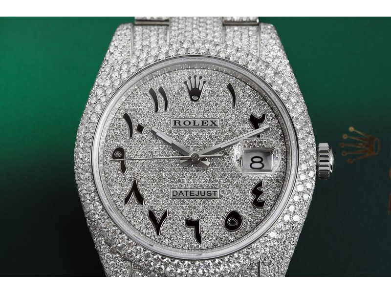 Rolex Datejust II 41mm Stainless Steel Watch Custom Arabic Script Pave Diamond Dial Fully Iced Out Watch