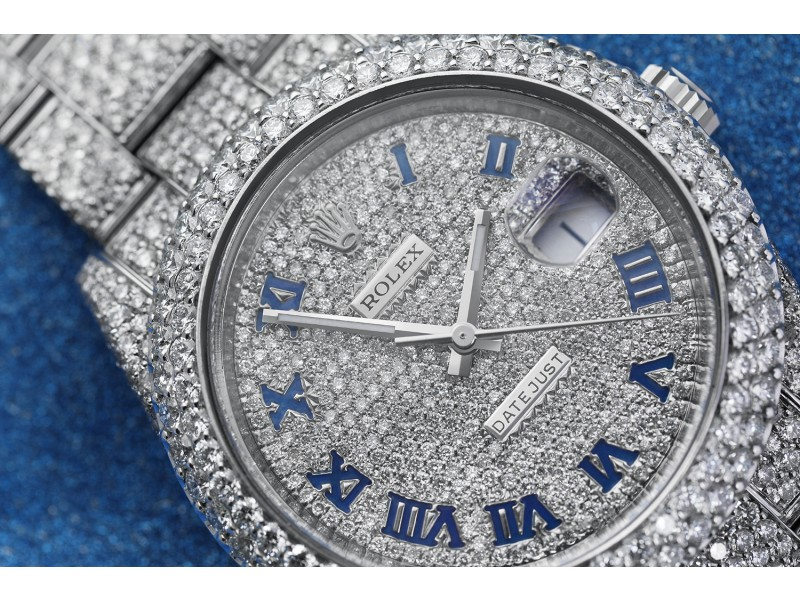 Rolex Mens Datejust II 41mm 116300 Stainless Steel Roman Numerals Pave Diamond Dial Fully Iced Out Watch