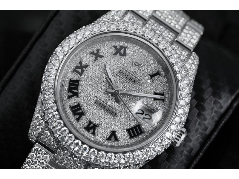 Rolex Datejust 36mm Stainless Steel Black Roman Pave Diamond Dial Fully Iced Out Watch