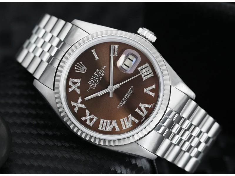 Rolex 36mm Datejust Stainless Steel Chocolate Dial Diamond Roman Numerals Jubilee Band 16014