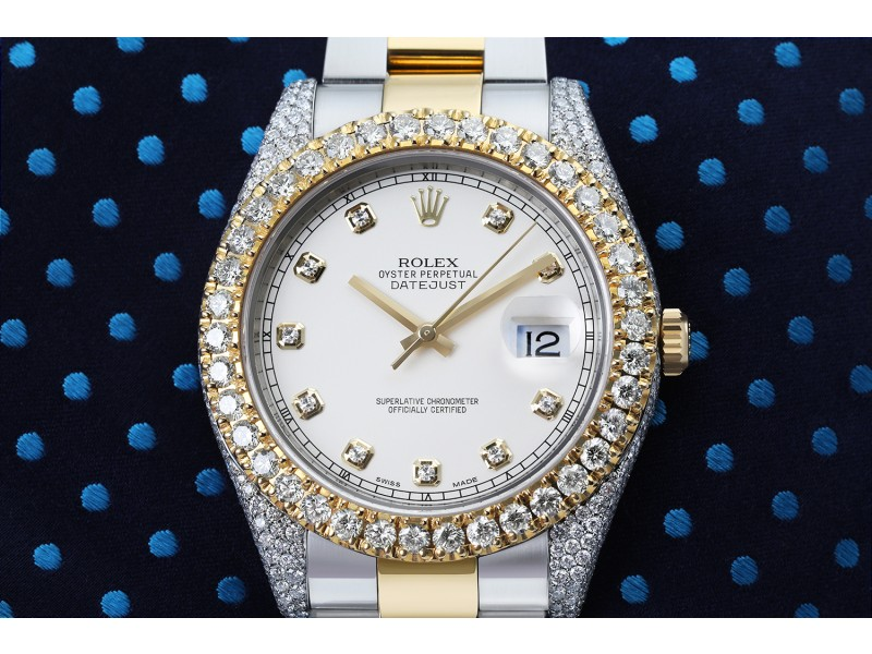 Rolex Datejust 41 Stainless Steel and 18k Yellow Gold Watch Ivory Dial Custom Diamond Case