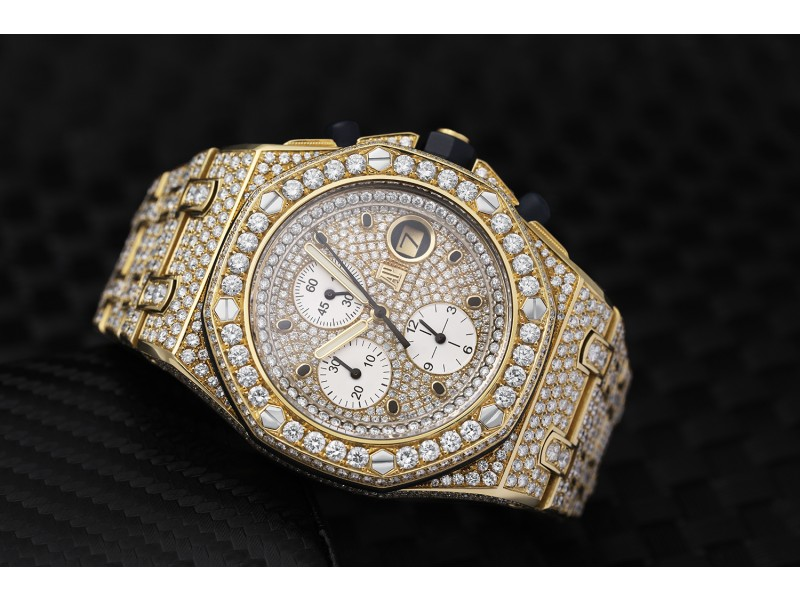 Audemars Piguet Royal Oak Offshore Chronograph  25721ba.oo.1000ba.02 Yellow Gold Automatic Fully Iced Out Watch