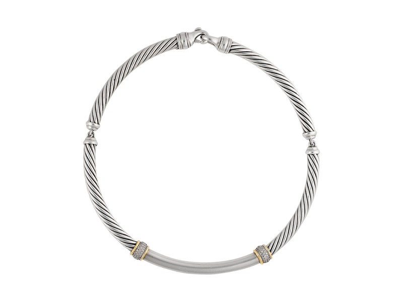 David Yurman Sterling Silver & 18K Yellow Gold with 0.78ctw Diamonds Metro Choker Necklace