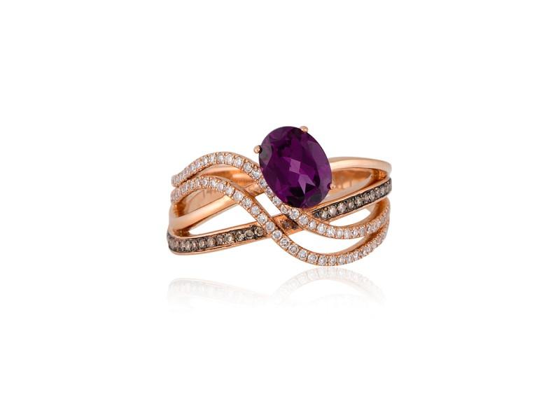 14k Rose Gold Rhodolite Ring