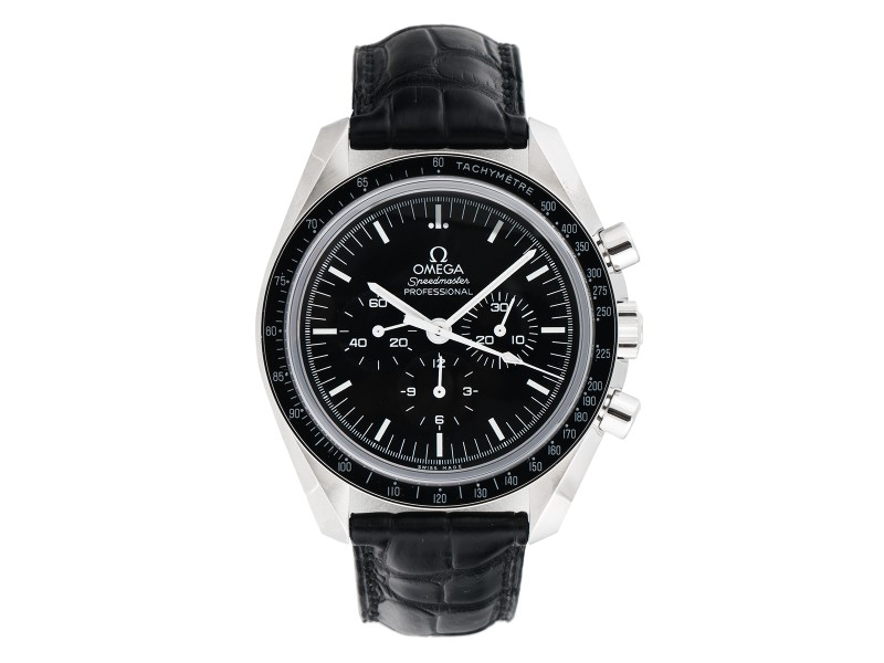 Omega Speedmaster Professional 31133423001002 Chronograph Black Dial Black Leather 42mm Mens Watch