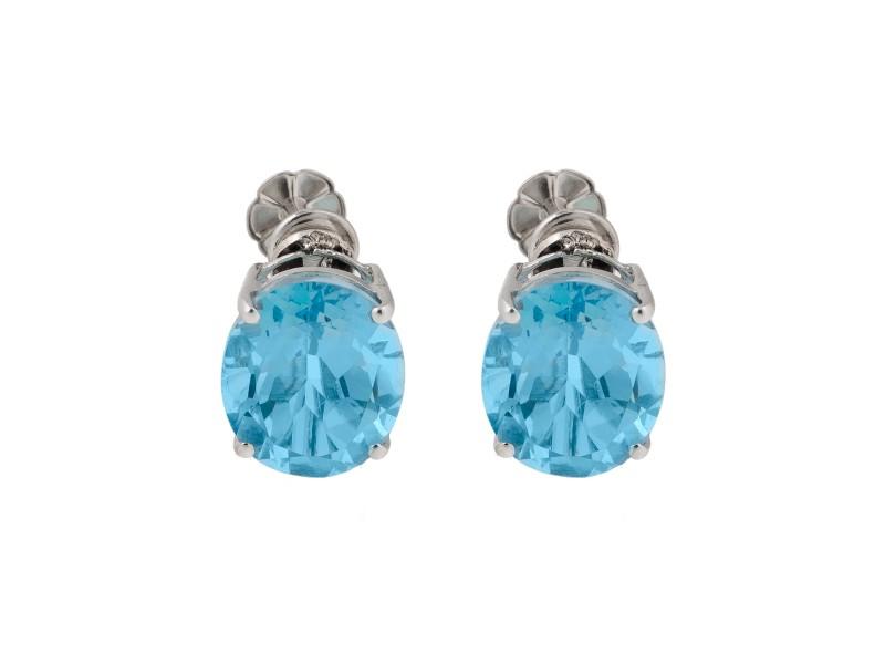 14k White Gold Blue Topaz Screw Back Earrings