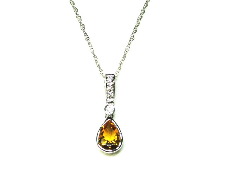 18kt White Gold Citrine and Diamond Pendant Necklace