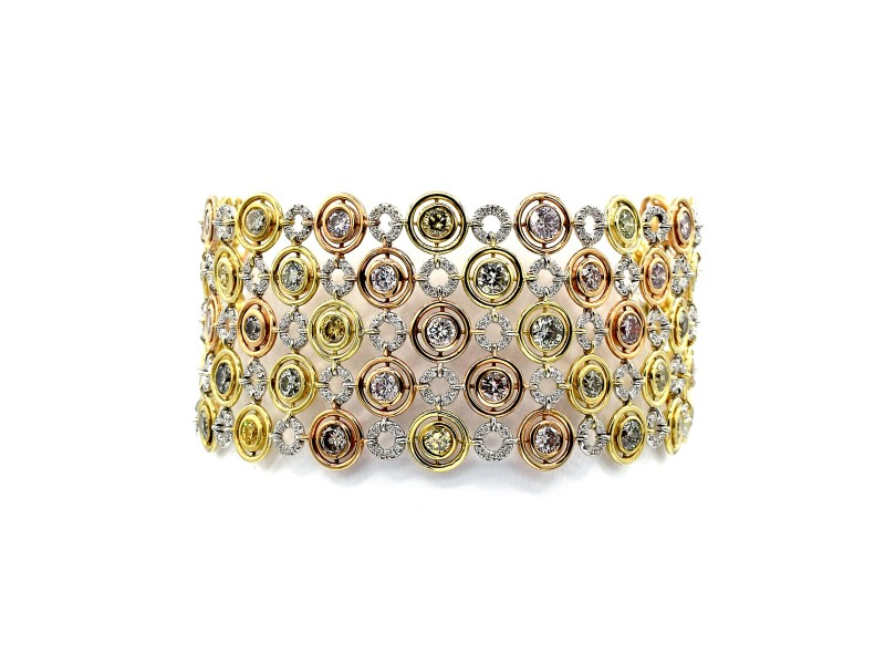 Multi-color Natural Diamond Link Bracelet
