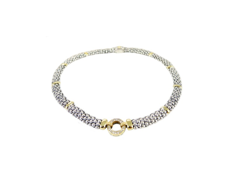Lagos Sterling Silver & 18K Yellow Gold Pave Diamond Circle Game Necklace