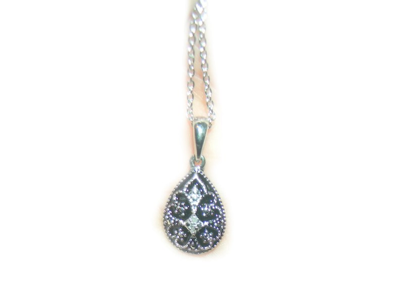Diamond Accent Pendant in Sterling Silver & Stainless Steel Necklace