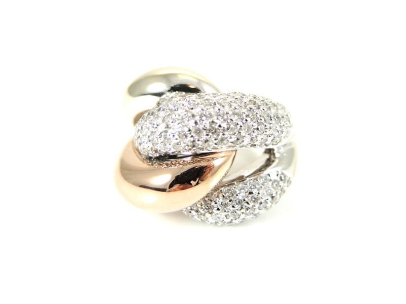 14K White Gold Rose Gold Pave Diamond Ring