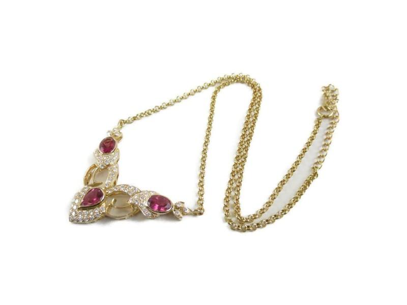 JEWELRY 18k pink gold Tourmaline diamond necklace RCB-32
