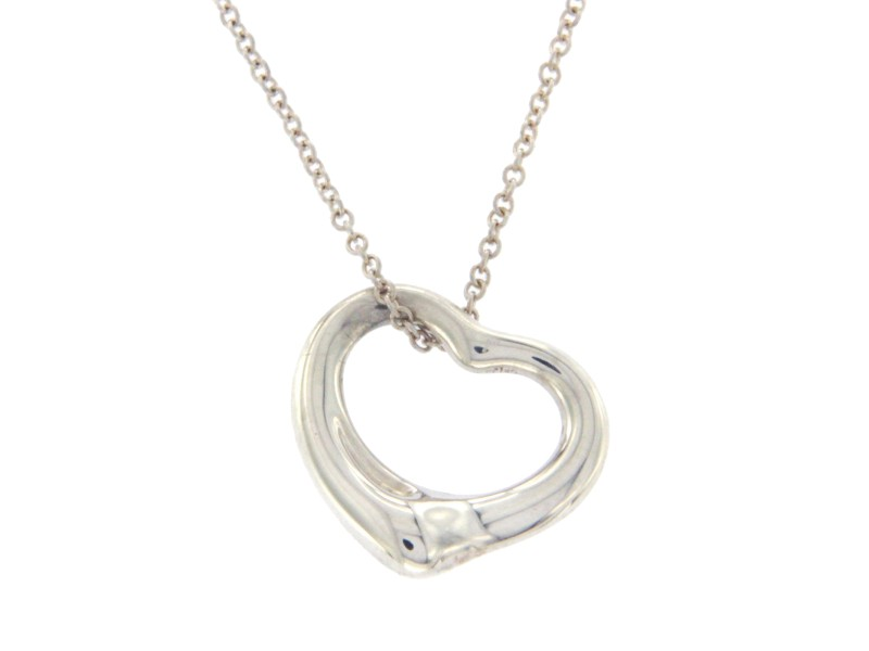 Tiffany & Co. 925 Sterling Silver Elsa Peretti Open Hearts Necklace