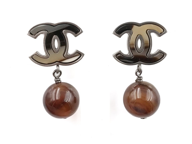 Chanel CC Silver Tone Petrified Wood Bead Piercing Earrings