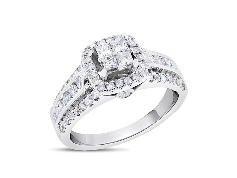 14K White Gold 1.05 Ct. Diamond Halo Princess Promise Ring