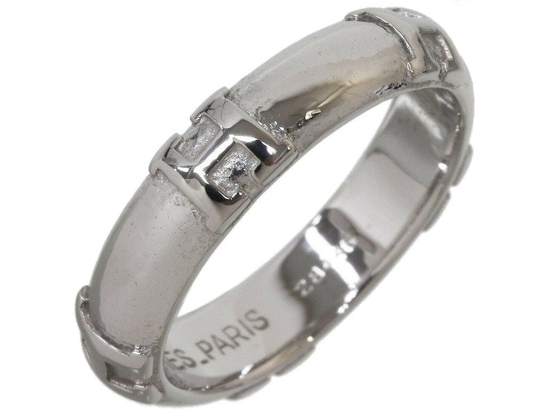 "Hermes Fidelite ""H"" Logo Band Ring in 18K White Gold US4.75"