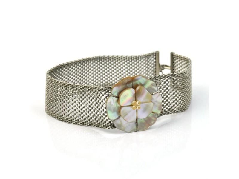Chanel Silver-Tone Shell Flower Bracelet