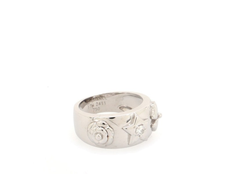 Chanel Camelia Band Ring 18K White Gold with Diamond 7.5 - 56