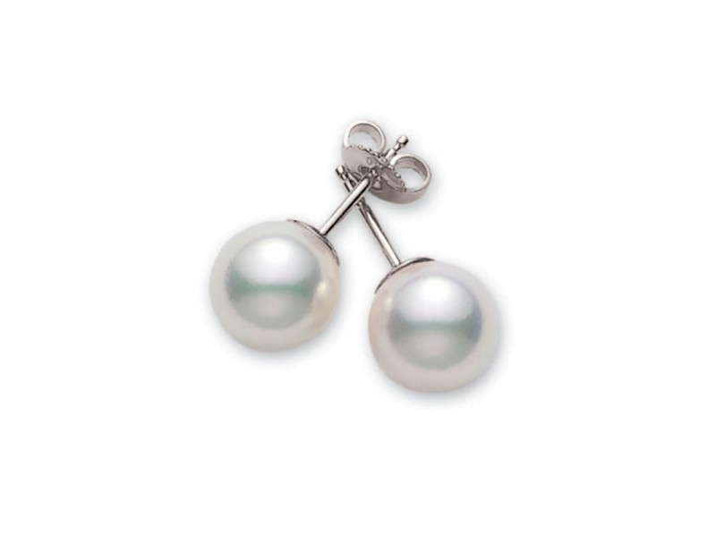 Mikimoto 18K White Gold Akoya Pearls Studs Earrings