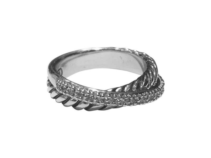 David Yurman Crossover Sterling Silver with 0.14tcw Diamonds Ring Size 7