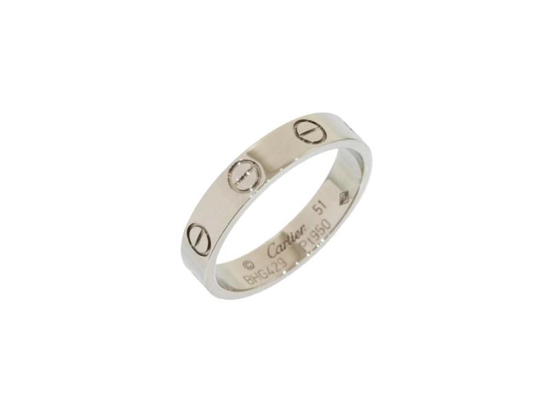 Cartier Mini Love Platinum Ring Size 5.75