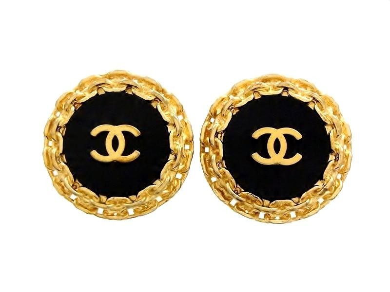 Chanel CC Logo Gold Tone Hardware Earrings